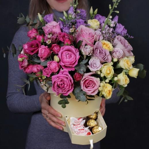 """Оригинальные Цветы в коробке """"Для очень сильных чувств"""""""