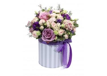 """Цветы в шляпной коробке """"Сиреневая Глазурь"""""""