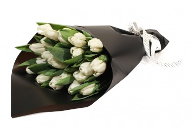 Букет из 21 белого тюльпана